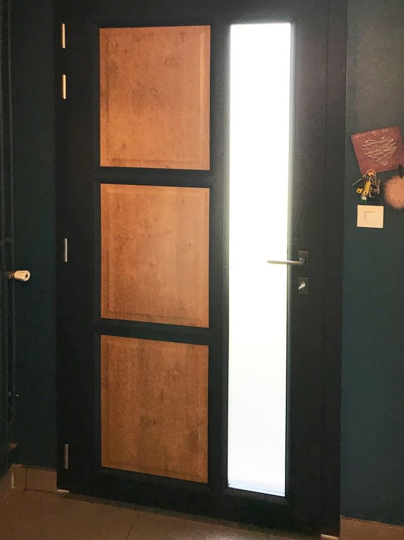 mpo fenetres le mans porte d'entrée en pvc noir et bois sur mesure 2