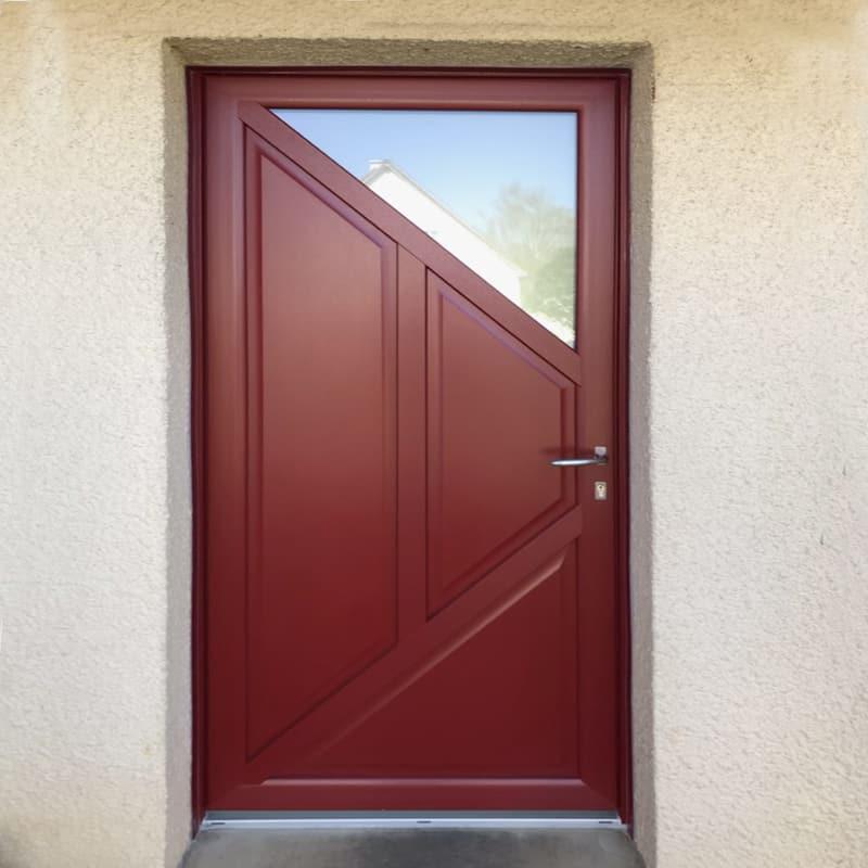 mpo fenêtres porte d'entrée en pvc rouge