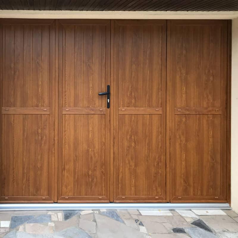 mpo fenêtres porte de garage 4 vantaux battants chêne doré