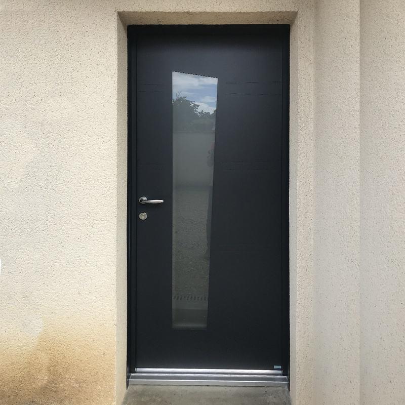 mpo fenetres tours porte d'entrée en alu 7016 extérieur